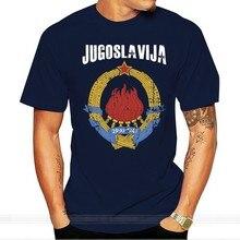 Camisa preta do vintage de alta qualidade dos homens do casaco de armas da iugoslavija da iugoslávia do algodão ringer t