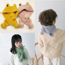 Корейская версия новых детских шарфов с ушками крест сплошной цвет мультфильм милые мужчины и женщины ребенок имитация кролика плюшевый шарф