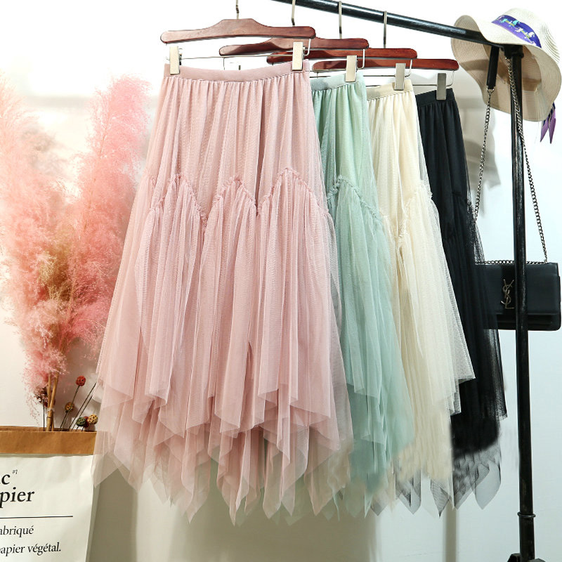 2020 Spring Summer Candy Colored A-line Irregular Layered Tulle Maxi Long Skirts Puffy Patchwork High Low Long Mesh Skirts Mint