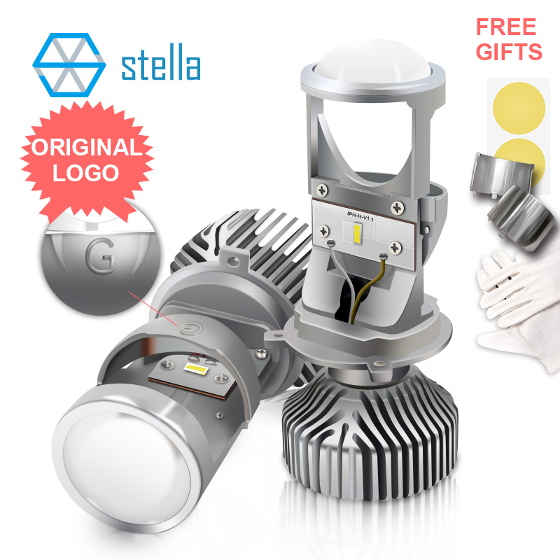 STELLA H4/9003/HB2 Mini Led Lens Lamp High/dipped Beam Projector Car Headlight Bulbs 6000k Light Bulb For Auto Lifetime Warranty