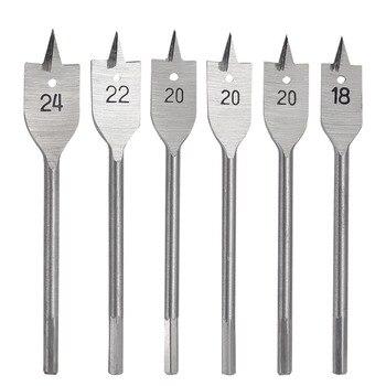 цена на 6pcs/set Flat Spade Drill Bit Set for Woodworking and Wood Drilling 14, 16, 18, 20, 22, 25 mm 152mm length Hex Shank Tools