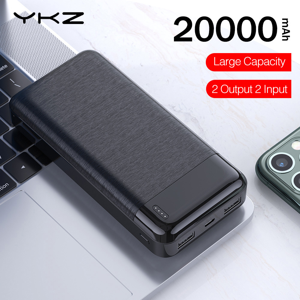 YKZ Power Bank 20000mAh 2.1A Fast Charge Slim Portable External Battery Charger Powerbank For IPhone Xiaomi 20000 MAh Poverbank
