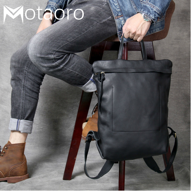 Anti Theft Backpack 14in Laptop Head-layer Cowhide Minimalist Design Double Shoulder Bags Men And Women Handmade Leather Bag
