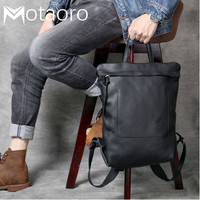 Anti Theft Backpack 14in Laptop Head layer Cowhide Minimalist Design Double Shoulder Bags Men And Women Handmade Leather Bag
