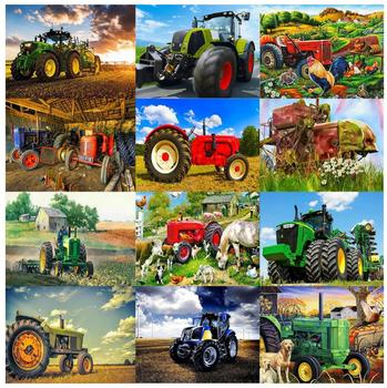 rural farm diamond painting tracktor diy diamond embroidery full diamond dots puzzle beads picture diamand mosaic wall sticker image