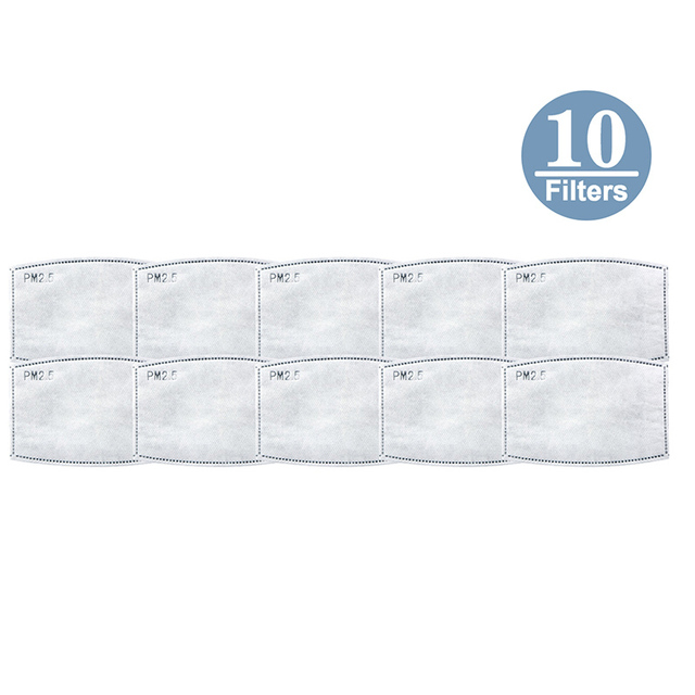 10pcs Face Mask Filters Safety Protective Mask Anti-Dust, Smoke, Gas and Allergies Adjustable Reusable Protection Filters 3
