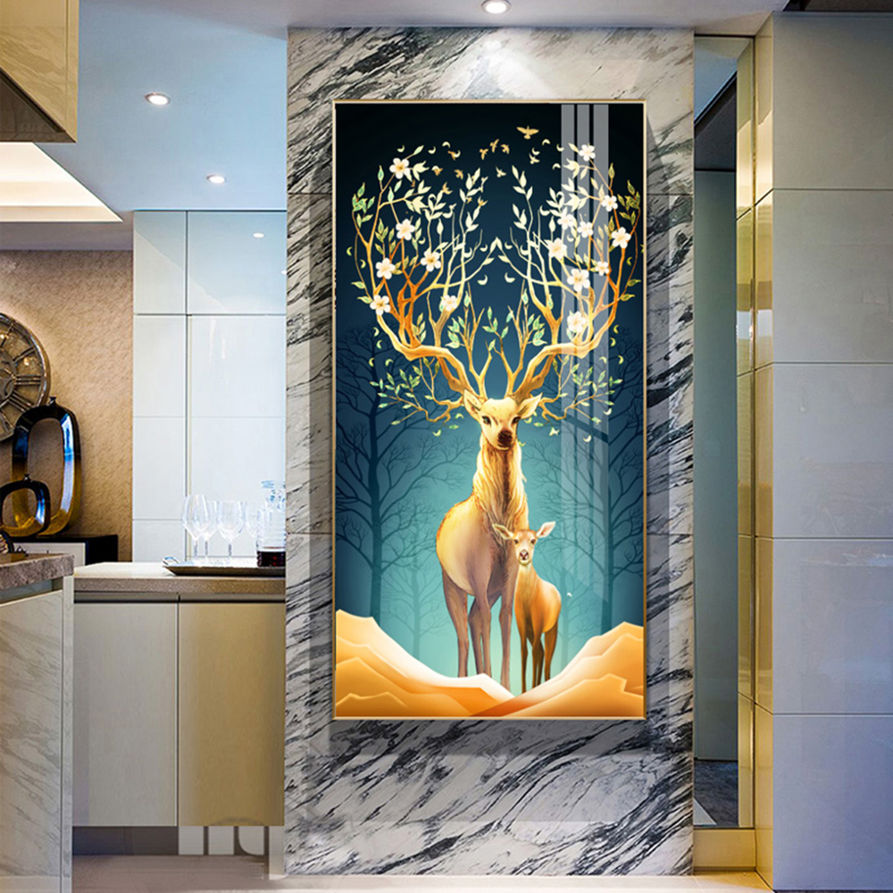 HD Printed Golden Elk Modern Simplicity Tree Canvas Painting Wall Art Pictures For Living Room Bedroom Decor