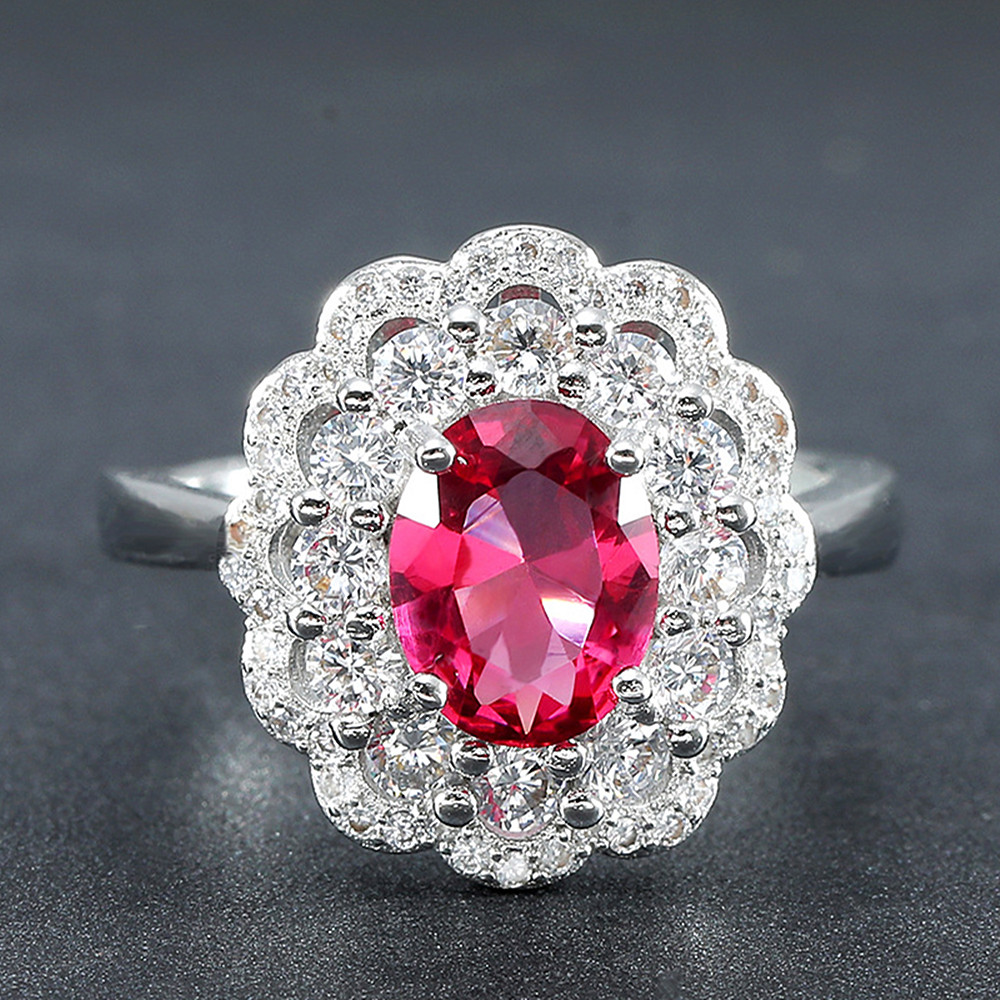 Luxury flower red crystal ruby gemstones diamond rings for women white gold silver color bague jewelry bijoux party gift fashion