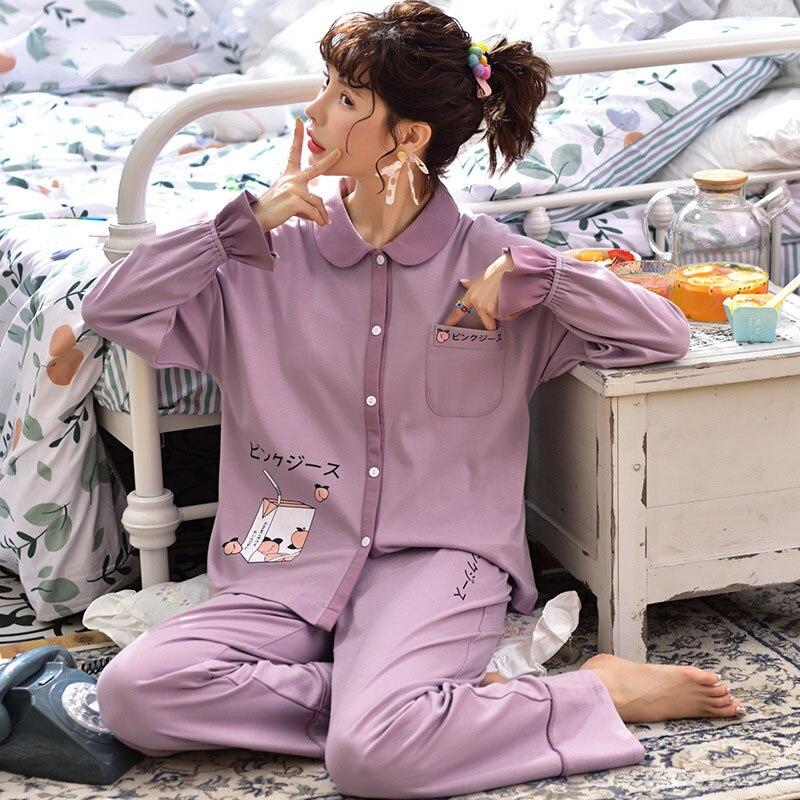 Tonmodi Дамский пижамный комплект весна и осень тонкий японский сладкий мультфильм печати с длинным рукавом милый Кукла Пижама с воротником Повседневная - Цвет: 5902