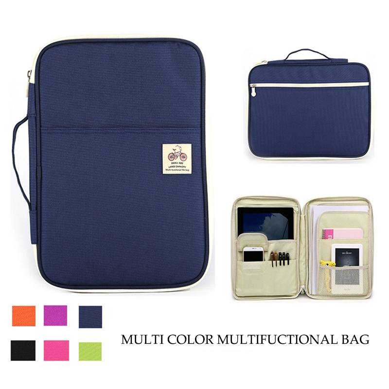 Multi-functional A4 Document Bags Portable Waterproof Oxford Cloth Bag For Notebooks Pens Computer Briefcase