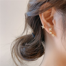 2020 Korean New Design Fashion Jewelry Copper Inlaid Zircon Delicate Asymmetric Stars Elegant Earrings for women