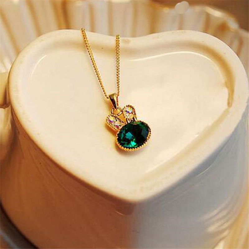 2019 New Fashion Women Necklace Gold Chain Green Lovely Rabbit Lovely Crystal Necklaces & Pendan Women Jewelry Gifts Women For