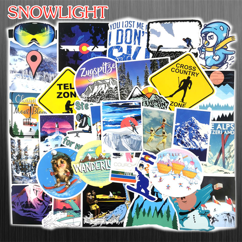 70 PCS Outdoor Adventure Winter Ski Landscape Stickers Travel Waterproof For DIY Suitcase Laptop Bicycle Helmet Car Skateboard