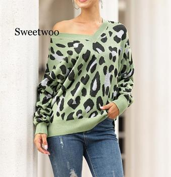 Women Knitted Leopard Sweater Casual Long Sleeve V Neck Pullovers and Sweaters Autumn Winter Warm Soft Jumper Tops Knitwear knitted sweater sexy deep v neck cashmere sweater female women sweaters and pullovers autumn long sleeve button tops 2018