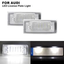 цена на 2Pcs 12V 3W Clear Xenon White LED License Plate Light For Audi TT 8N 99-06 Number Plate Lamp Car Accessories