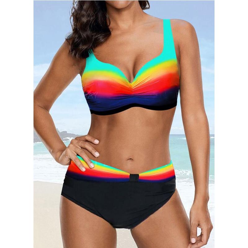 Tengweng 2020 Vintage Sexy Gradient Striped Halter Swimming Suit Women Summer Big Size Bikini Set Swimwear Ladies Plus Size 2XL