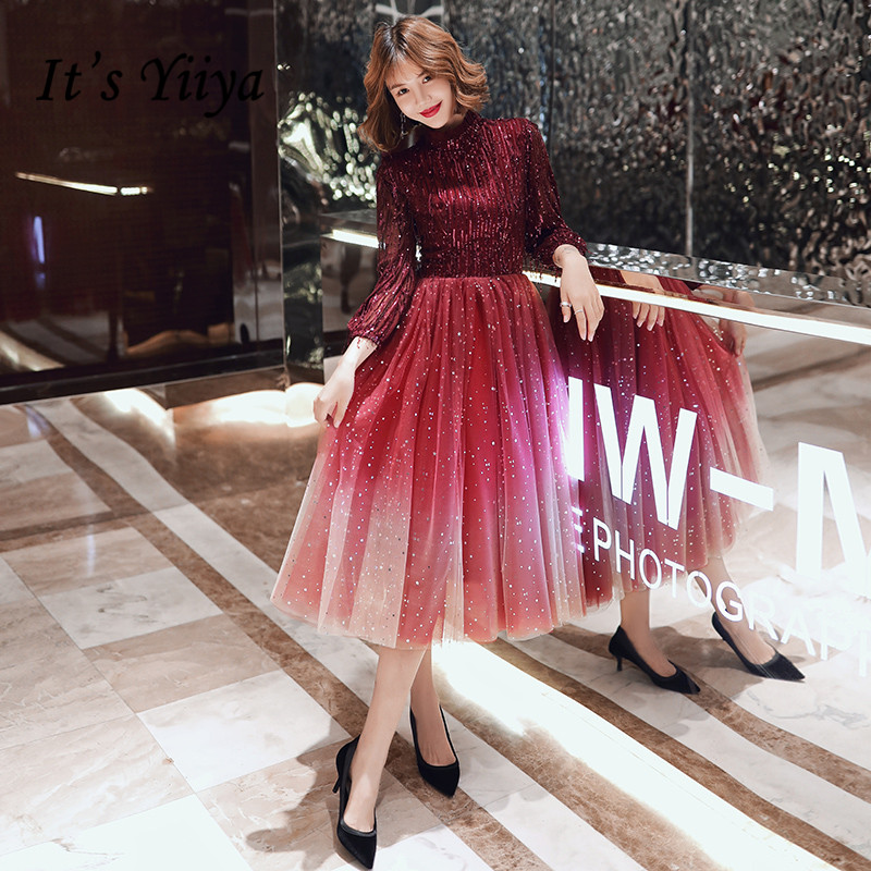 It's Yiiya Evening Dress Burgundy Stander Neck Evening Dresses Tassel Sequins Shining Formal Gown Plus Size Robe De Soiree LF139