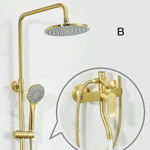 Image 3 - Luxury Gold brush shower set bathroom gold brush shower mixer luxury bathroom brush gold wall shower mixer bathtub hot cold tap