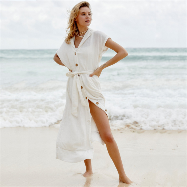 Europe And America New Style Wrinkle Woven Fabric Single Breasted Medium-length Sun-resistant Beach Skirt Coat Bathing Suit Cove