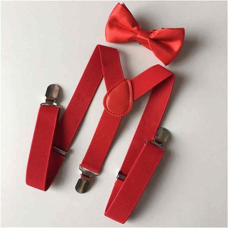 Crianças suspensórios elásticos laço conjunto unissex menino menina bowtie traje de casamento ajustável cinta y-back cinto do bebê formal acessórios