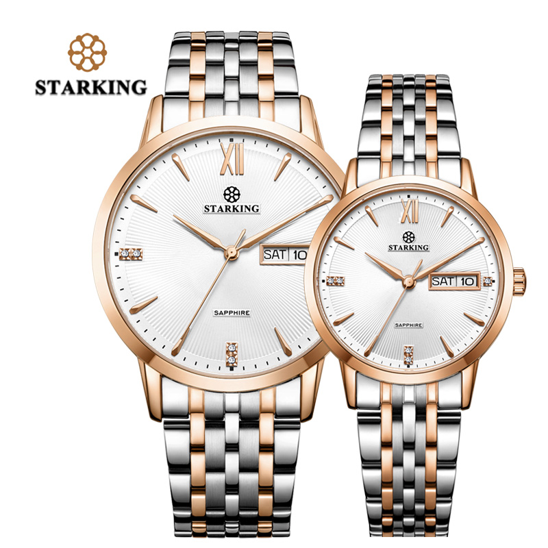 STARKING Lovers Watches Quartz Auto Date Japan Movt Rose Gold Stainless Steel Men Women Watches Dress Couple Watches Clock Gifts