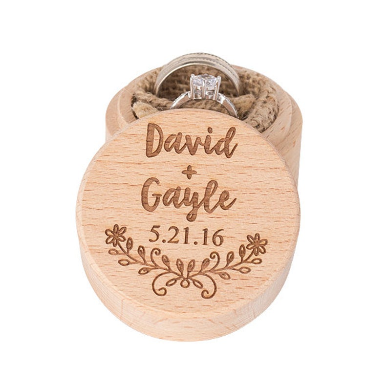 Personalized Wedding Ring Box Wooden Ring Bearer Box Bridal Ring Holder Custom Ring Box Natural Engagement Ring Box