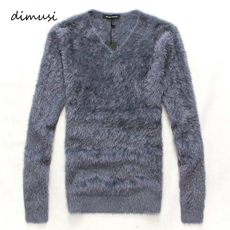 DIMUSI Winter Men Pull Sweater Casual Solid V-Neck Turtleneck Shirt Sweaters Men Slim Fit Long Wool Knitted Pullovers Clothing