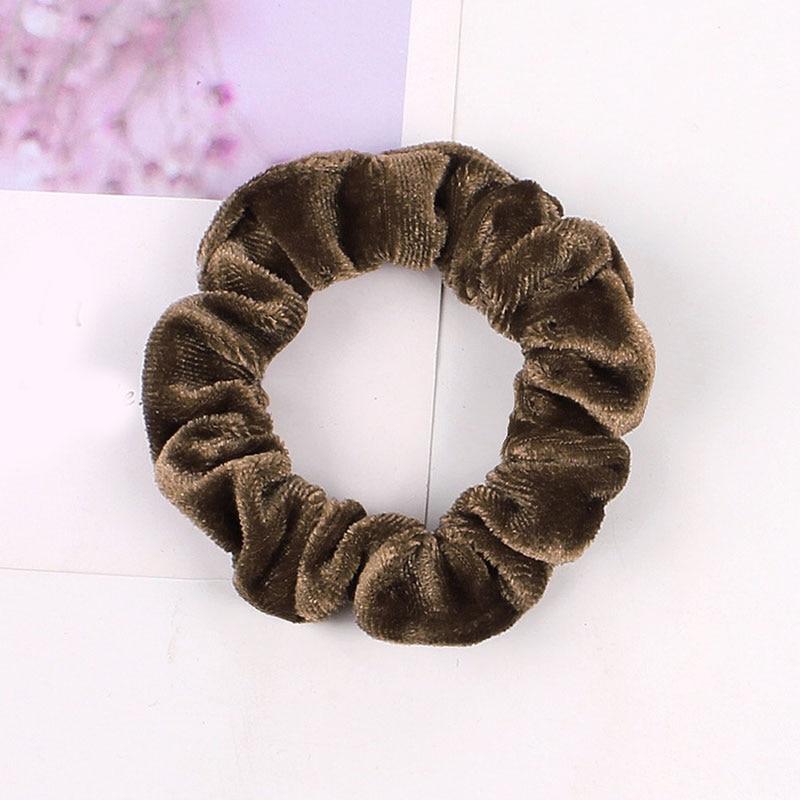 1 шт., женское эластичное кольцо для волос, зимние мягкие бархатные резинки, резинки для волос, милые одноцветные аксессуары для волос, держатель для конского хвоста - Цвет: Velvet-16