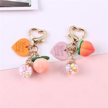 Pink Girl Heart Peach Keychains Lovely Love Peach Car Key Chain Pendant For Women Bag Key Chain Gifts Student Lovers Gift kingcamp peach 28 kb3306