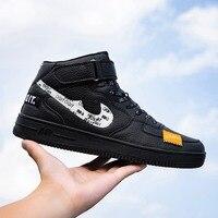Модные кроссовки для мужчин, Классические, на шнуровке, высокий стиль, весна-осень, Вулканизированная плоская подошва, повседневная обувь, н...