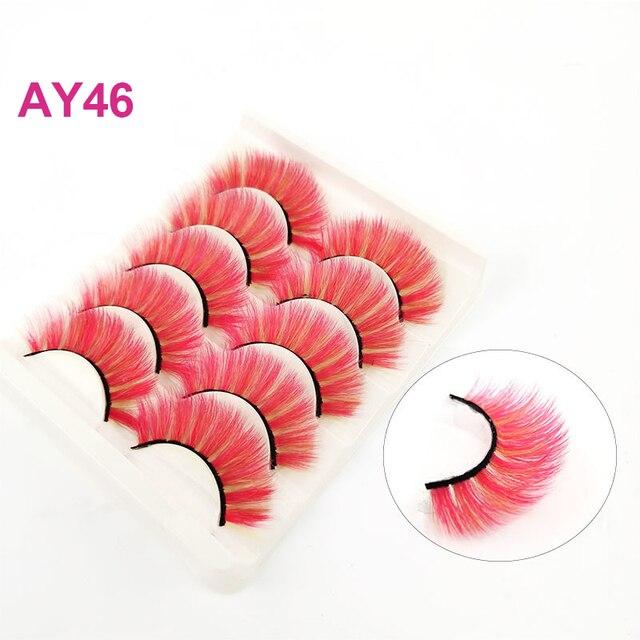 Фото okaylash 5 пар объемных цветных ресниц из искусственной норки