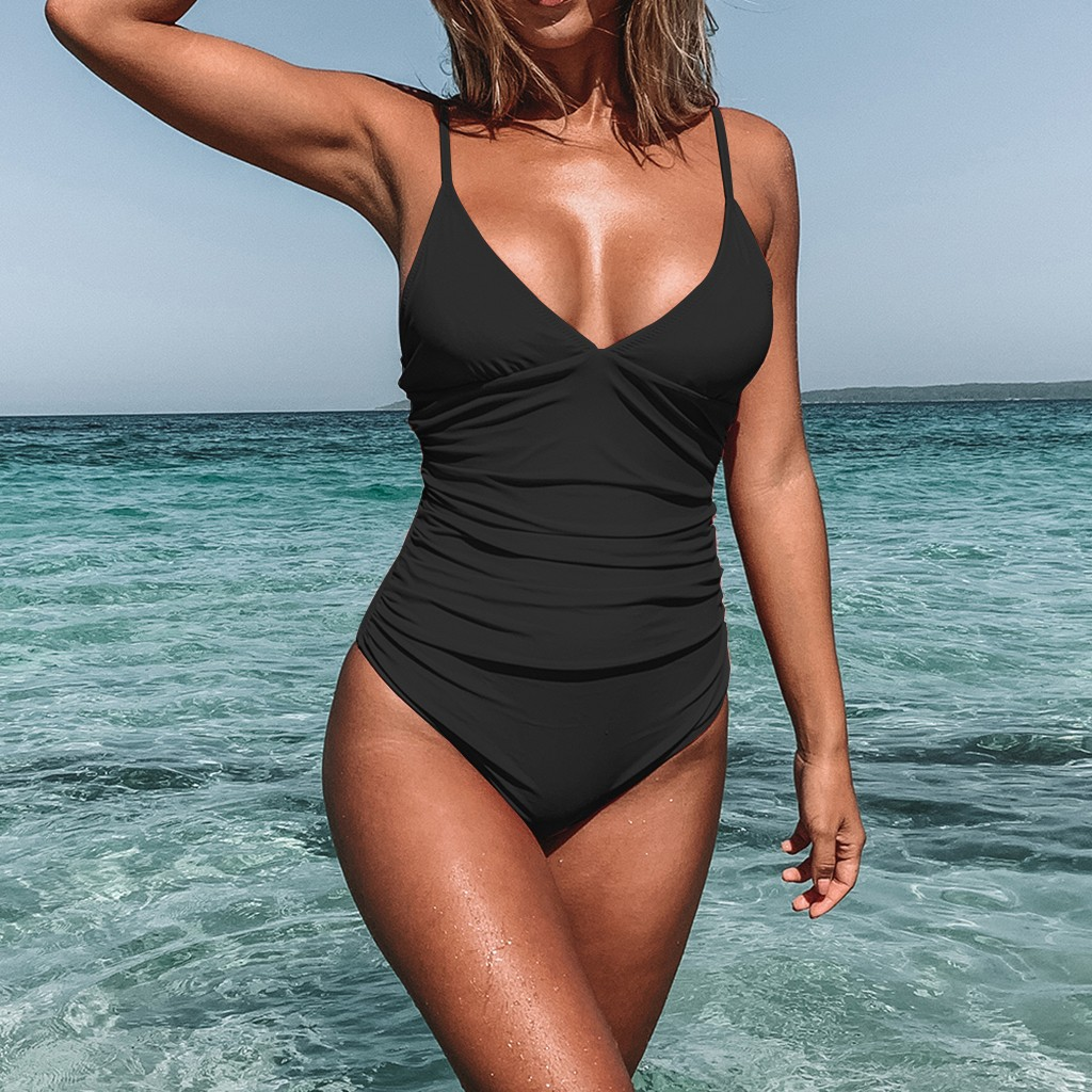 Swimsuit Bikini Beachwear Bathing Deep-V-Neck Vintage Push-Up Plus-Size Women Low-Back title=