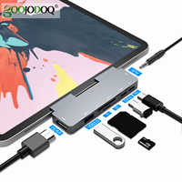 GOOJODOQ USB C Hub 60W PD Charging for iPad Pro MacBook Air Switch to HDMI USB 3.0 Adapter Type-C Phone with Earphone Data Jack