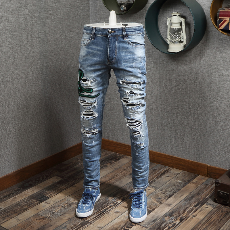 Fashion Streetwear Men Jeans Slim Fit Elastic Cobra Embroidery Ripped Jeans Men Destroyed Pants Brand Designer Hip Hop Jeans