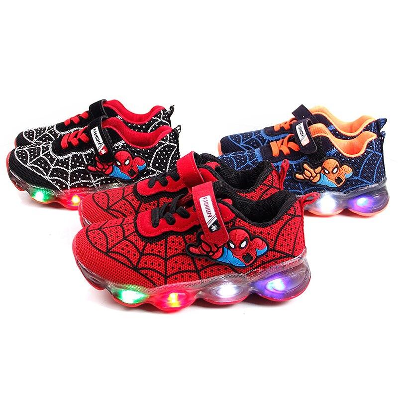 Led Spiderman Kids Shoes For Boys Girls Light Children Baby Sneakers Mesh Sport Boys Girls Led Light Shoes