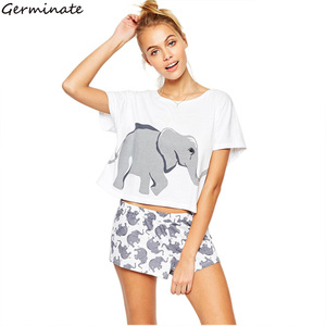 Image 1 - Elephant Pajama Set Women Graphic White Cotton Sexy Cute Home Tops Shorts Loungewear Nightwear Sleepwear Teen Girl Plus Size