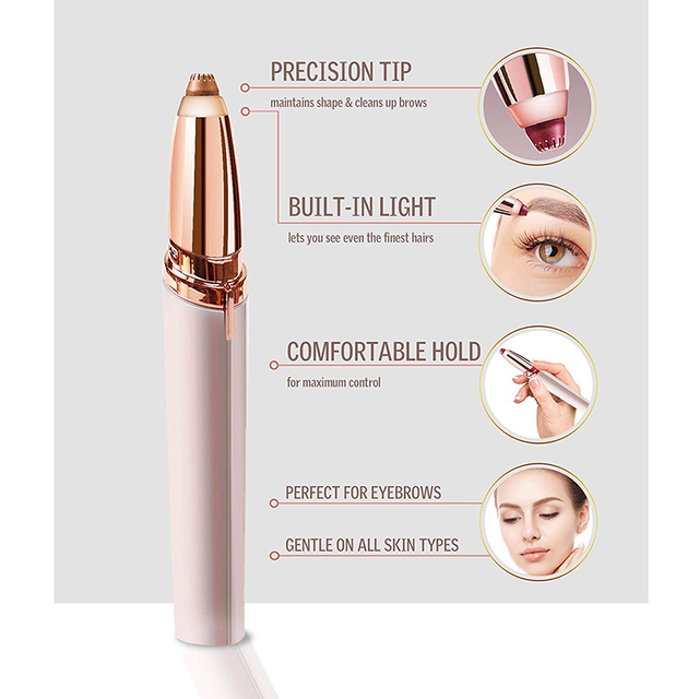 Mini Electric Eyebrow Trimmer Makeup Painless Eye Brow Epilator for Women  Shaver Razors Portable Facial Hair Remover 2