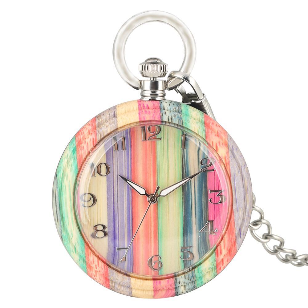 Relógios de Bolso Relógio de Quartzo Feminino Colorido Bambu Noite Ponteiros Leve Pingente Relógio Luz