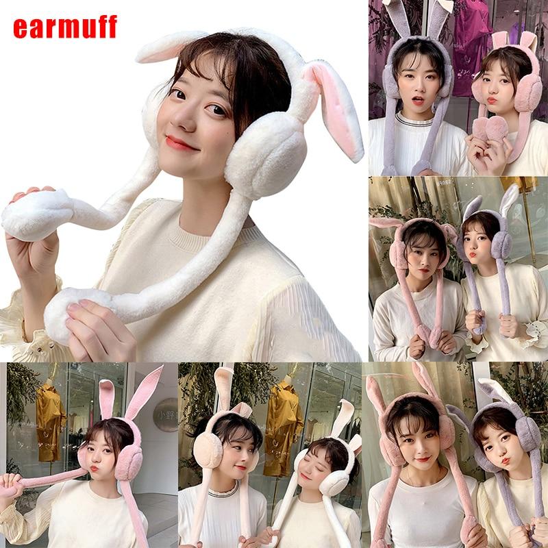Cute Women Earmuffs Warm Can Move Airbags Cap Plush Dance Rabbit Ear Autumn Winter NIN668