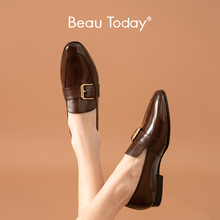 BeauToday Penny Loafers Frauen Kalbsleder Leder Schnalle Runde Kappe Frühling Herbst Damen Slip-On Beiläufige Flache Schuhe Handgemachte 27272
