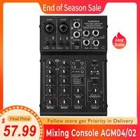 Ammoon-mezcladora Digital de Audio profesional, de 4 canales pequeña consola mezcladora, 2 bandas, EQ, 48V, Phantom Power, 5V, alimentada por USB