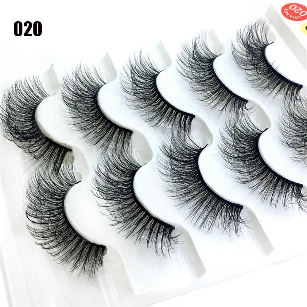 2020 Baru 5 Pasang Jepang Serius Makeup Bulu Mata Palsu Panjang Tebal Mata Bulu Mata Ekstensi Fashion Kecantikan Alat