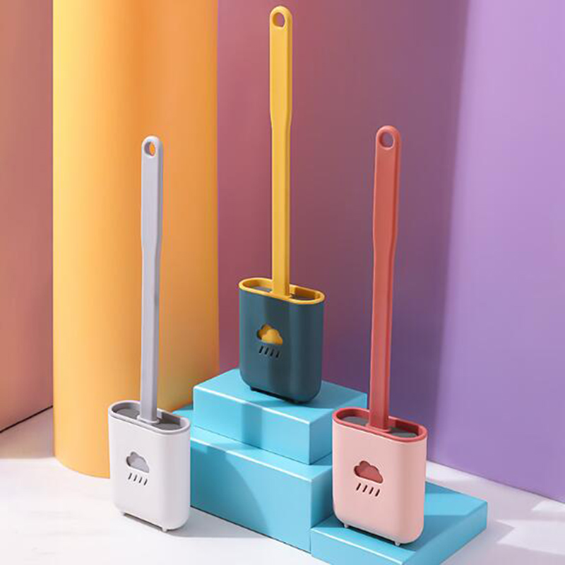 New Long Handle Silicone Toilet Brush with Holder Flexible Bristle Toilet Brush Cleaning Brush Set WC Bathroom Accessories