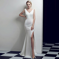 fashion beads Evening Dresses Sexy Open fork Mermaid Prom evening Gowns sleeveless V-neck Formal Party evening Dress