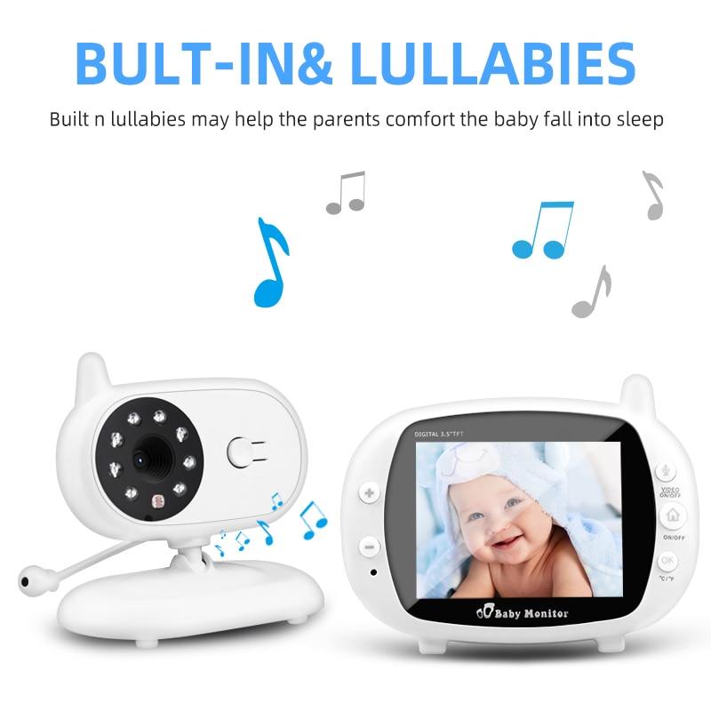 Bezprzewodowy niania elektroniczna Baby Monitor kamera ochrony 3.5 cal LCD Audio niania IR Night Vision połączenia głosowego Babyphone wideo monitorowanie temperatury