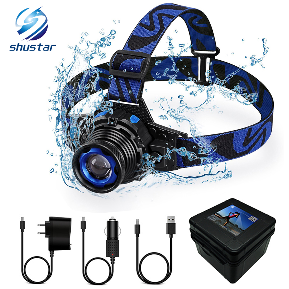 Rechargeable LED Headlamp Waterproof LED Headlight Q5 LED Rotary Zoom 3 Modes Head Lamp Built-in Lithium Battery