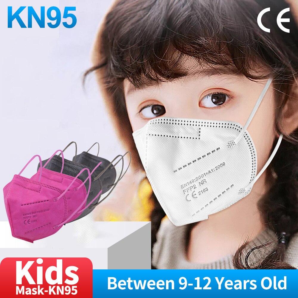 9-12 Old Kid Mask FFP2 mascarillas Black kn95 mask children face mask 5-layer 95% filter ffp2 protective Dust mouth Rosered Mask