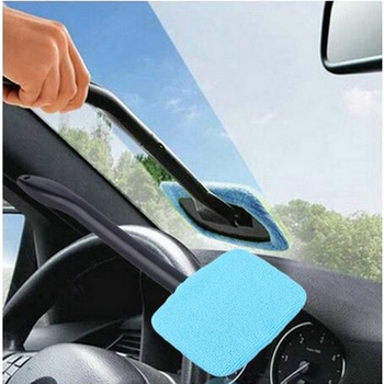 Car Window Windshield Cleaning Brush Microfiber Wiper Cleaner Cloth Pad Auto Glass Inside Outside Cleaning Tool Long Handle image