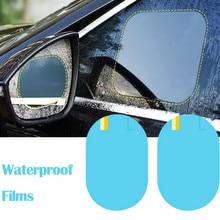 2 piezas Anti niebla coche espejo ventana transparente película Anti niebla coche retrovisor película protectora impermeable etiqueta engomada del coche