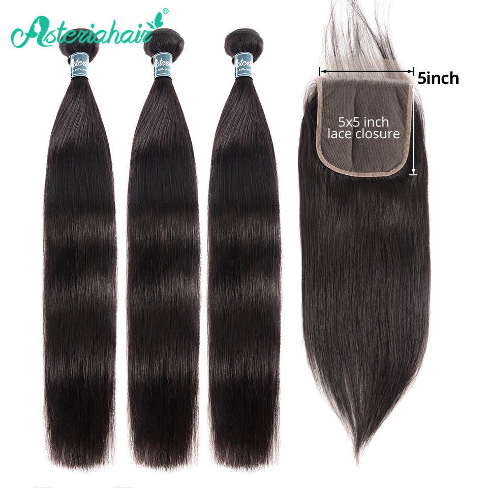 Asteria Straight Hair <font><b>Bundles</b></font> With <font><b>5x5</b></font> <font><b>Lace</b></font> <font><b>Closure</b></font> Brazilian Hair Weave 3 <font><b>Bundles</b></font> With <font><b>Closure</b></font> NaturalBlack Remy Hair Extension image
